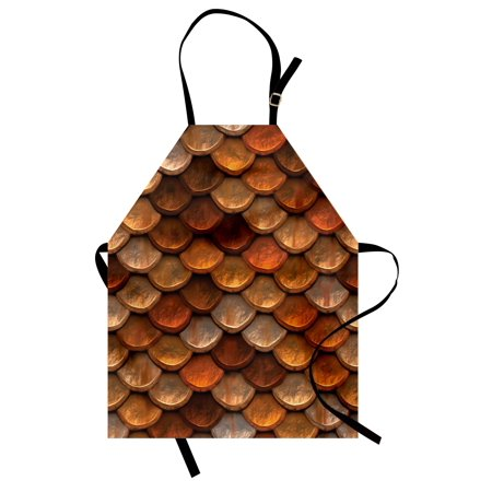 Vintage Apron Scale Pattern with Medieval Inspirations Half Circles Design Ancient Armor, Unisex Kitchen Bib Apron with Adjustable Neck for Cooking Baking Gardening, Bronze and Gold, by Ambesonne