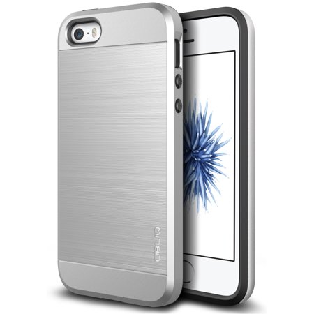OBLIQ, iPhone 5/5s/SE Case [Slim Meta][Satin Silver] Slim Fit Metallic Brush Finish Back [Shock Absorbing] TPU Inner Layer PC Exterior Cover for Apple iPhone 5, 5s, and