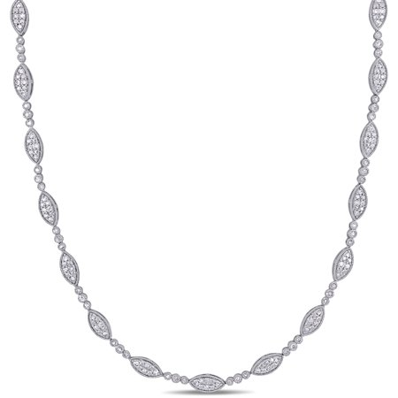 2 Carat T.W. Diamond Sterling Silver Geometric Necklace, 17 ()