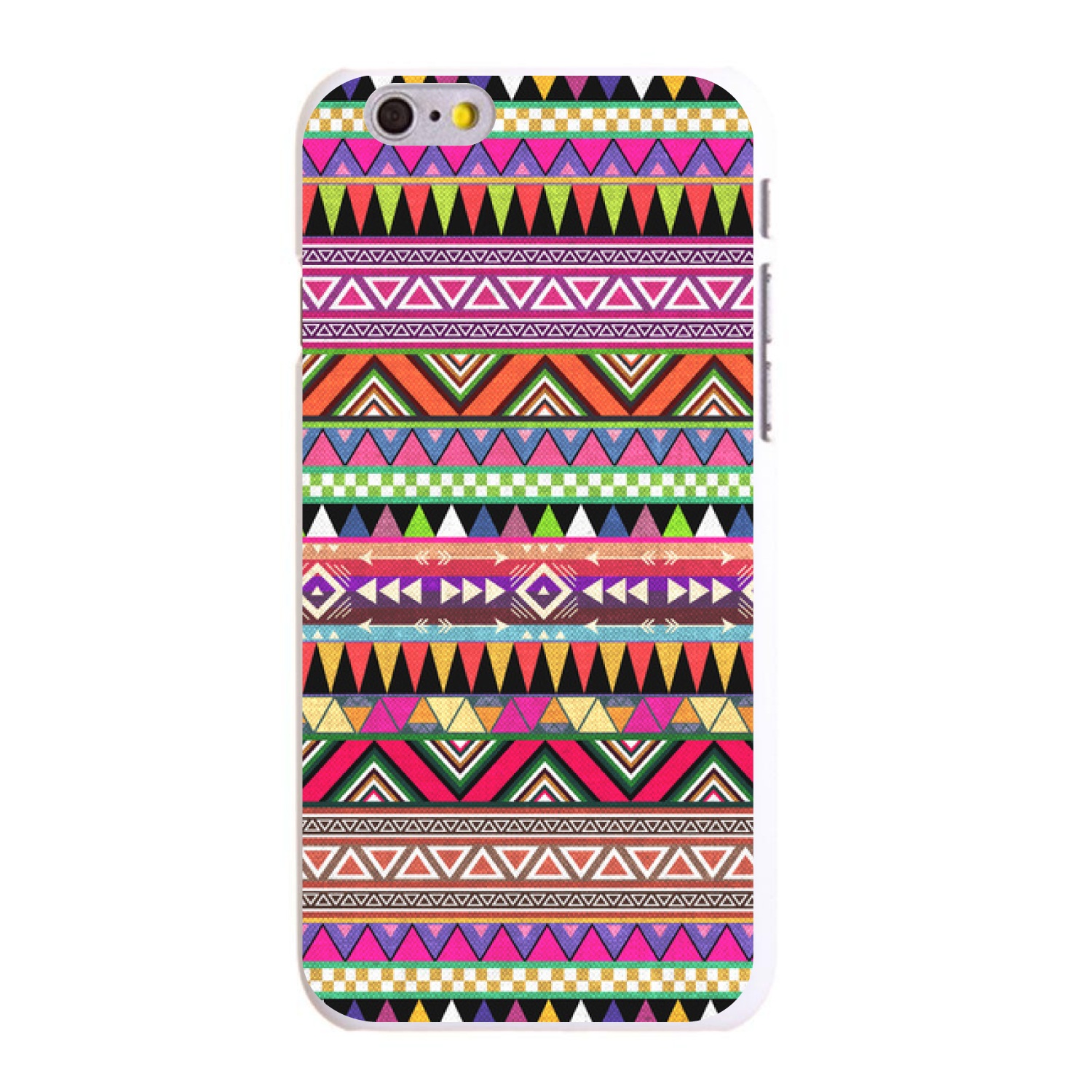 "CUSTOM White Hard Plastic Snap-On Case for Apple iPhone 6 PLUS / 6S PLUS (5.5"" Screen) - Pink Blue Orange Tribal Print"