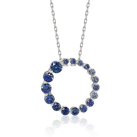 Suzy Levian Sterling Silver Natural Sapphire Circle Journey Pendant (Sapphire Square Charm)