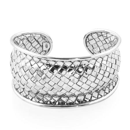 Sterling Basketweave (925 Sterling Silver Basketweave Cuff Bangle Bracelet for Women Jewelry Gift 7.50