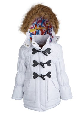 Urban Republic Little Girls Faux Down Fleece Lined Winter Puffer Toggle Coat