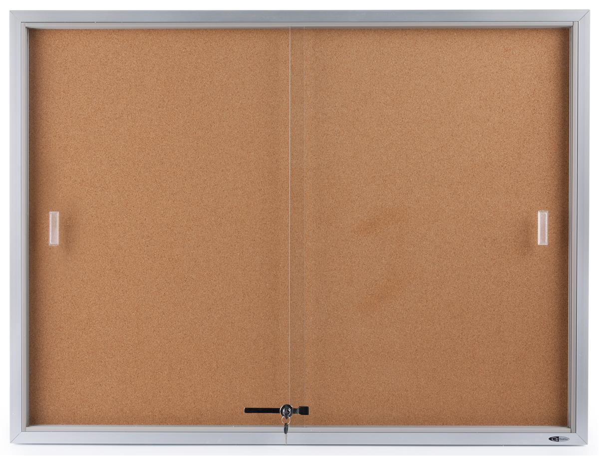 "48"" x 36"" Enclosed Bulletin Board for Wall Mount, Indoor Use Only, 4' x 3' Cork Board with Sliding... by Displays2go"
