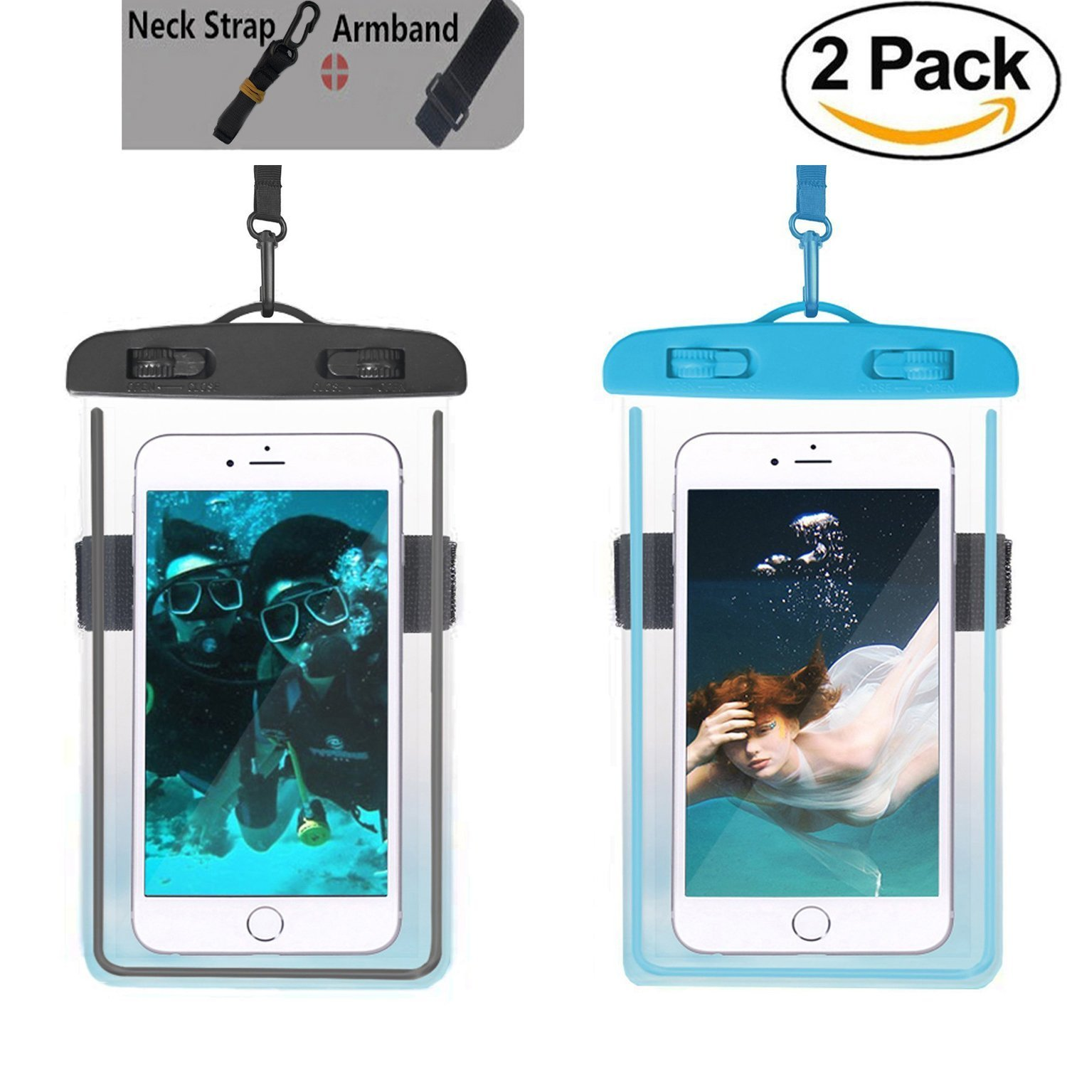 Universal Waterproof Phone Case,2pcs Waterproof Phone Pouch Dry Bag with Armband & Neck Strap for iPhone X 8 8Plus 7 7Plus 6S 6Plus, Samsung S9 Plus/S8Plus/Note 8 6 5 up to 6.0 (Black,Blue)