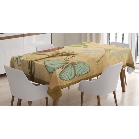 Dragonfly Tablecloth, Retro Style Butterflies with Flower Petals and Grunge Effects Artwork, Rectangular Table Cover for Dining Room Kitchen, 60 X 84 Inches, Sand Brown Caramel, by Ambesonne](Butterfly Tablecloth)