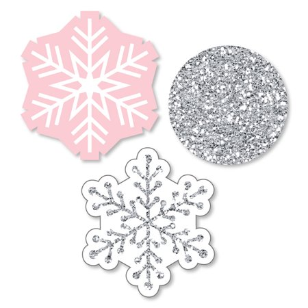 Pink Winter Wonderland - Shaped Holiday Snowflake Birthday Party or Baby Shower Cut-Outs - 24 Count - Winter Onederland Birthday Outfit