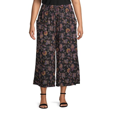 French Laundry Women's Plus Size Printed Wide Leg Crop