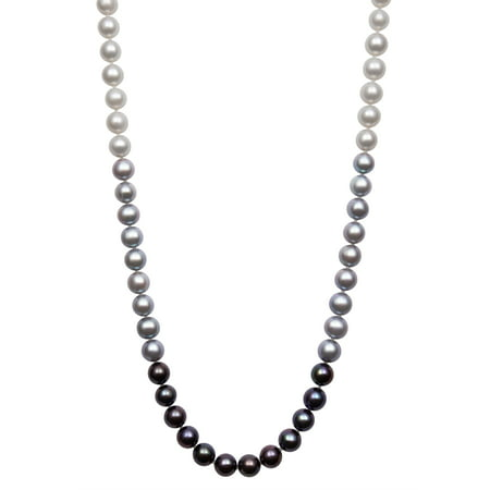 White, Gray, and Black Cultured Freshwater Pearl Sterling Silver Necklace, 18