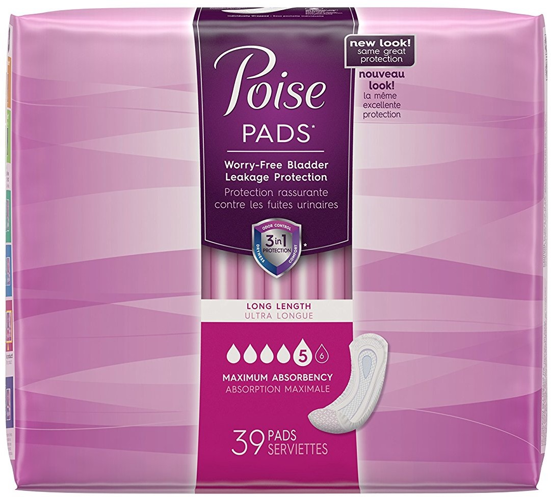 Poise Maximum Absorbency Incontinence Pads, Long Length 39 ea (Pack of 3)