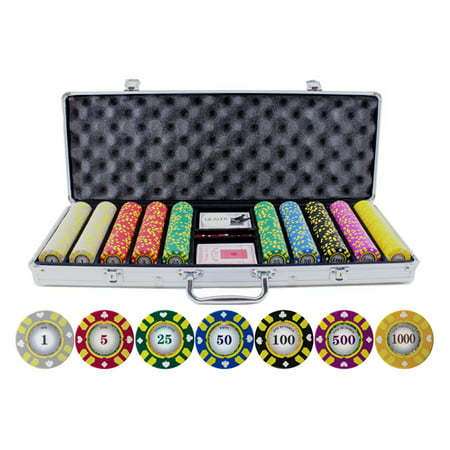 13.5g 500pc Stripe Suited V2 Clay Poker Chips Set Striped Poker Suit