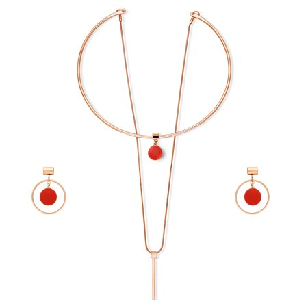 - Rose Gold Flashed Base Metal Ball Bead Bar Open Circle Choker Necklace and Earrings Set