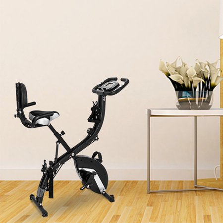 3-in-1 Bike Exercise Equipment, Foldable Semi Recumbent Magnetic Upright Exercise Bike w/ LCD Monitoring, Adjustable Arm Resistance Bands, High Backrest, Anti-slip Pedal, Capacity of 260 lbs, Q1403 ()