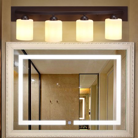 Gymax 4 Light Glass Wall Sconce Light Lamp Shade Cover Fixture ...