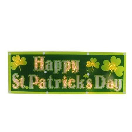 "16"" Lighted Holographic Happy St. Patrick's Day Window Decoration"