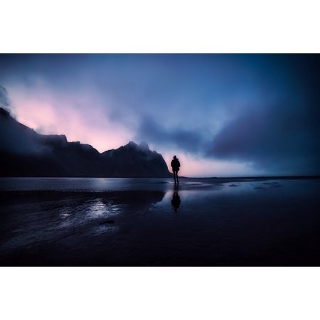 Peel-n-Stick Poster of Silhouettes Landscape Iceland Water Reflections Poster 24x16 Adhesive Sticker Poster Print