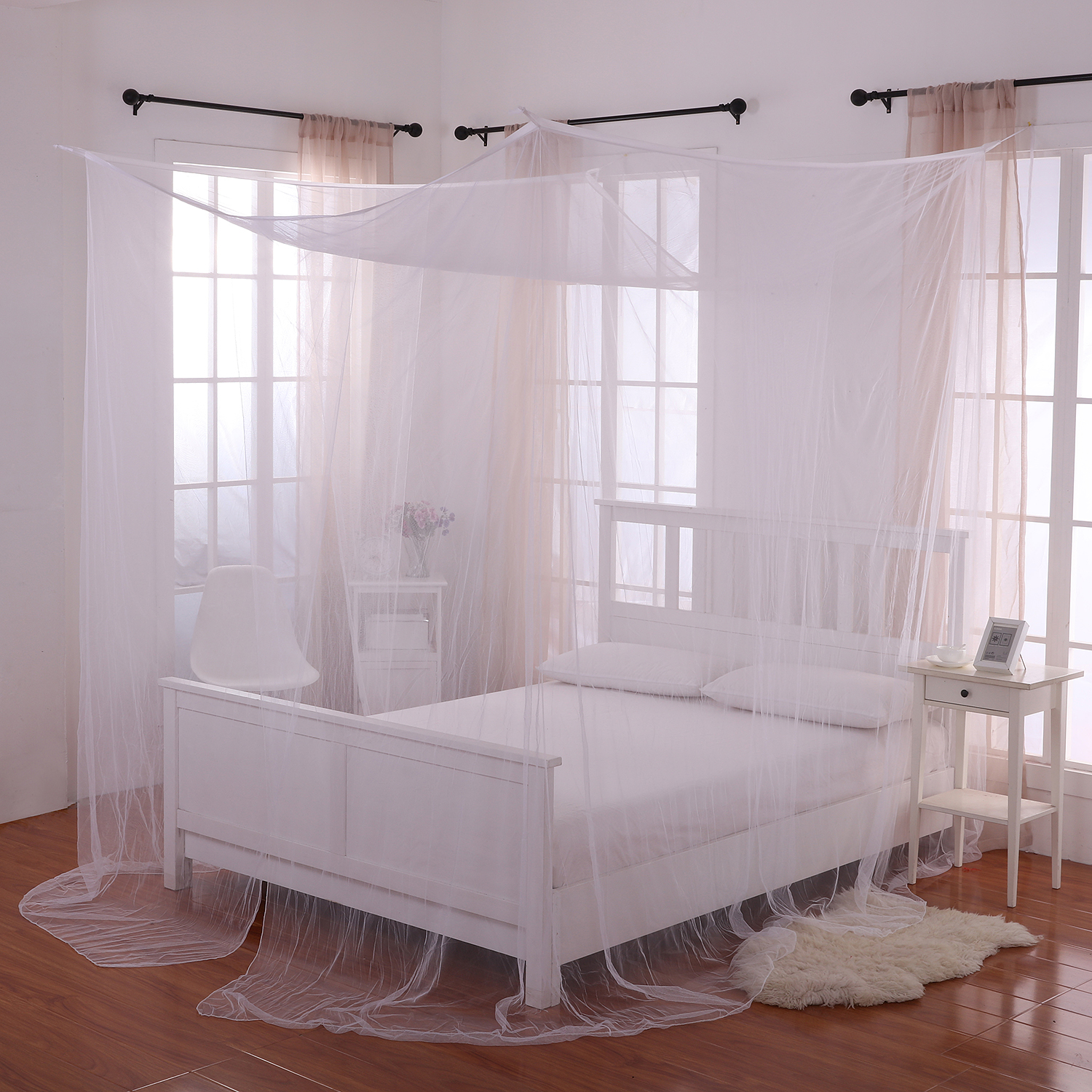 Palace 4-Post Bed Sheer Panel Canopy & Palace 4-Post Bed Sheer Panel Canopy - Walmart.com