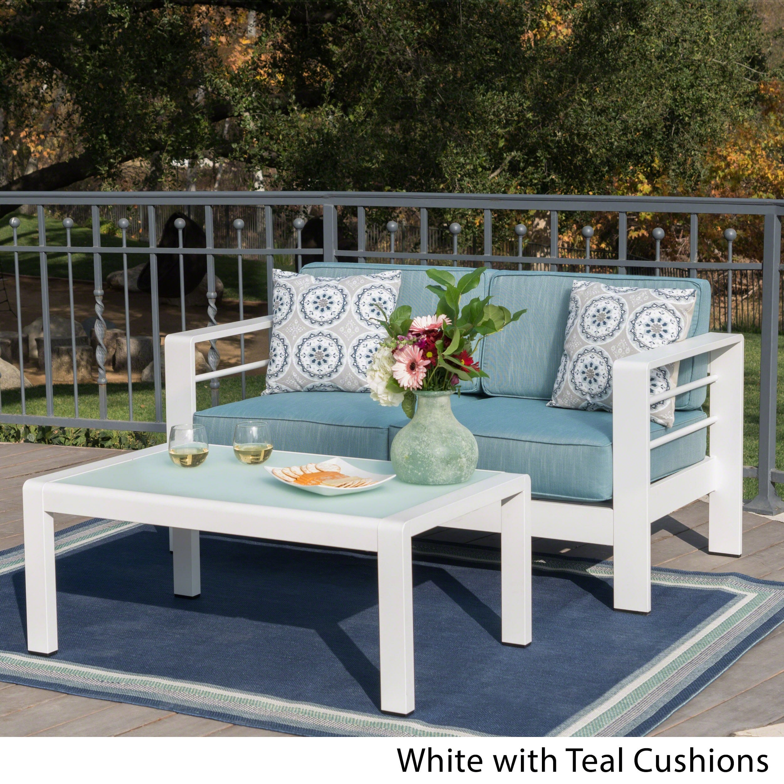 Christopher Knight Home Cape Coral Outdoor Aluminum 2-piece Set with Cushions by
