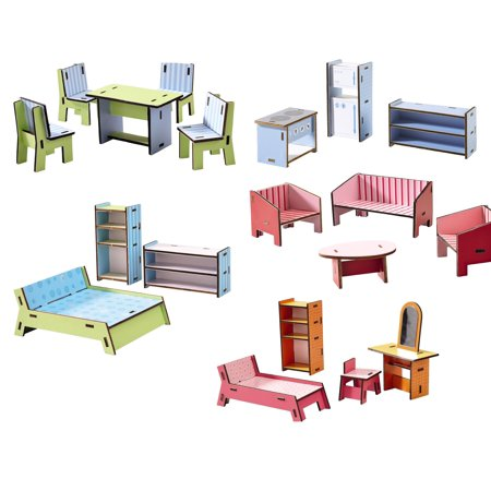 HABA Little Friends Deluxe Dollhouse Furniture Set with 5 Rooms (19 Pieces) for Villa (Friends Furniture Set)