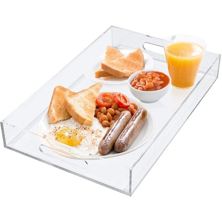 Estilo Premium Acrylic Serving Tray With Handles For Breakfast, Coffee Tables, Serving Food or Decorative (Shell Handled Tray)