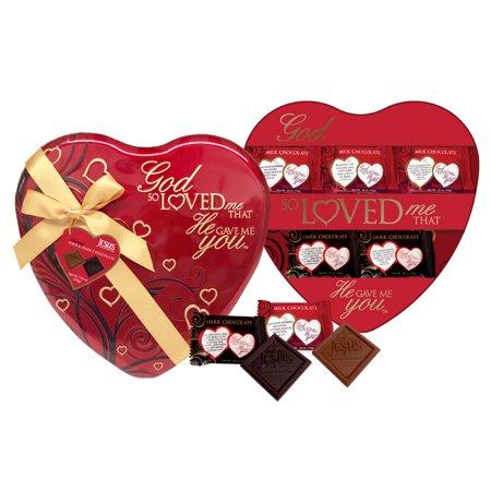 God So Loved Me Heart Large Tin Large Heart Tin