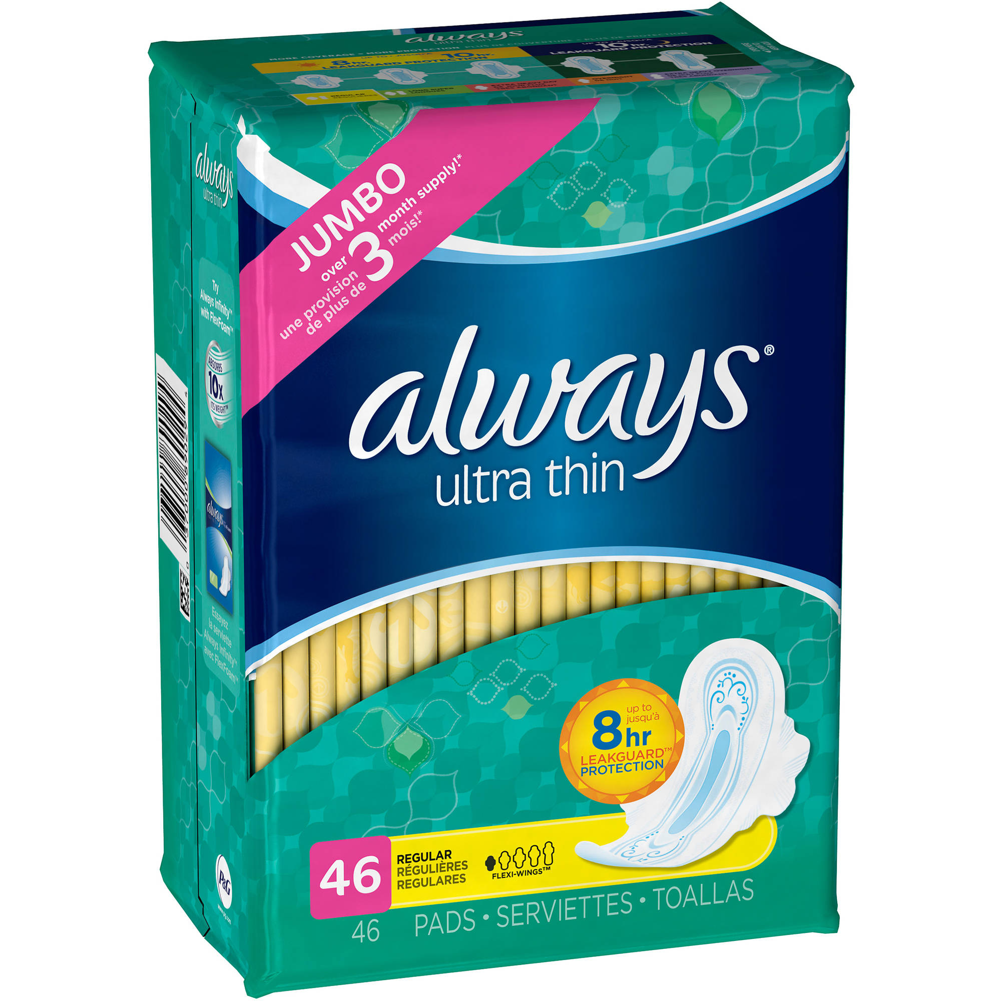 Always Ultra Thin Pads with Wings, 46 count