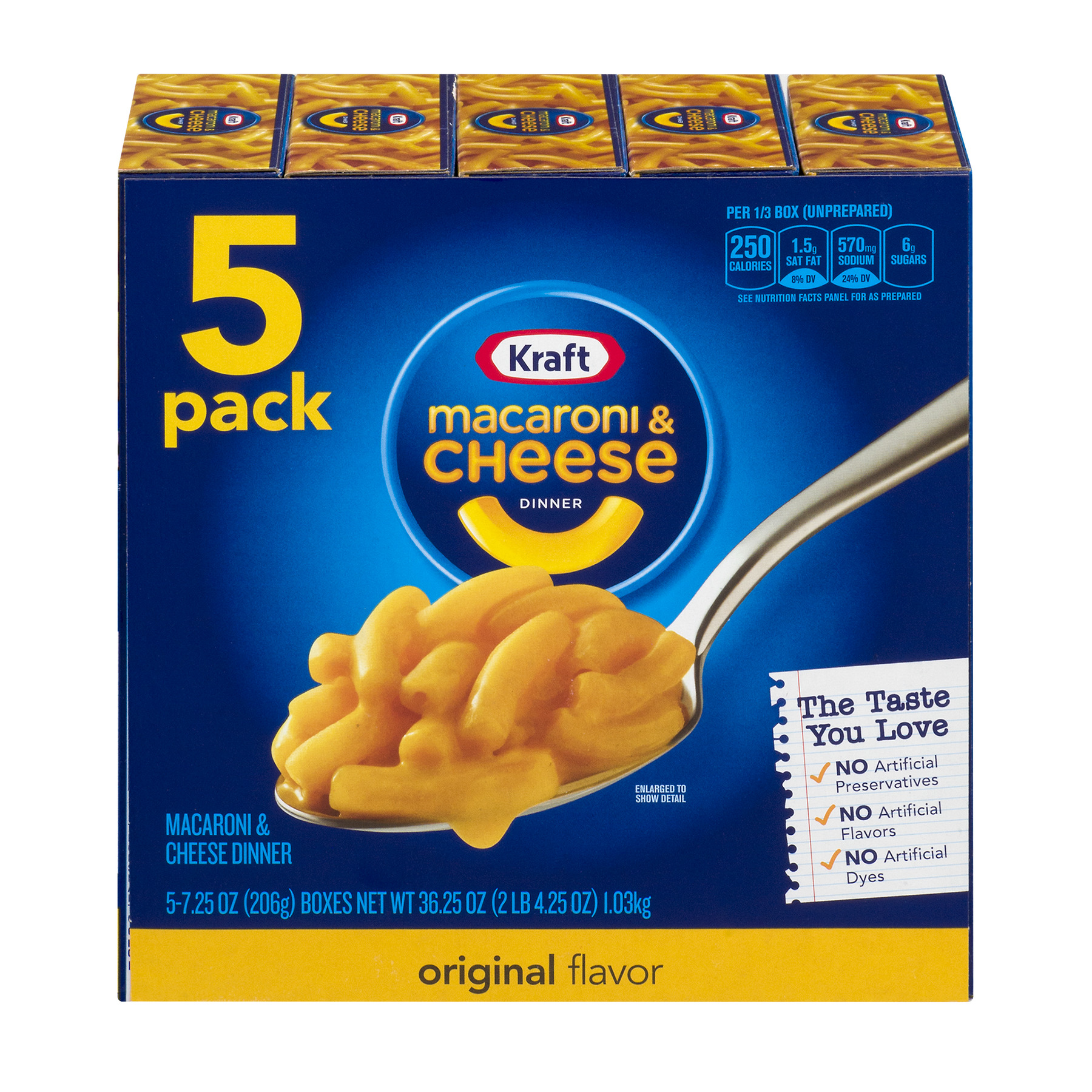 Kraft Macaroni & Cheese Dinner Original Flavor, 5 count , 36.25 oz