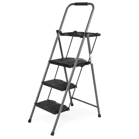 Best Choice Folding Steel 3-Step Stool Ladder Tool Equipment for Indoor, Outdoor w/ Hand Grip, Wide Platform Steps, 330lbs Capacity - Black (3 Step Ladder With Tray)