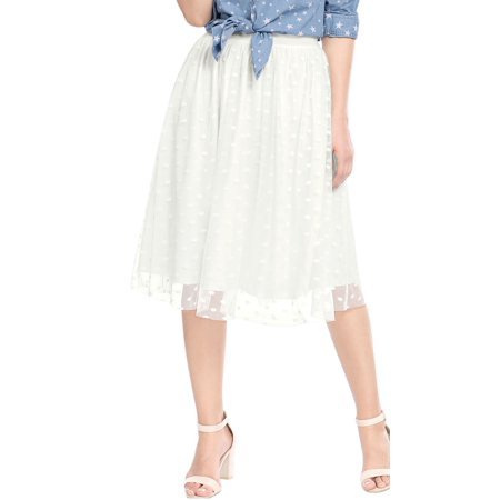 Women's Dress Elastic Waistband Polka Dots A Line Midi Mesh Skirt (Polka Dot Skirt Halloween)