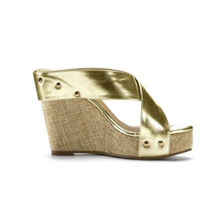 2a46f51612 Unique Bargains Women s Linen Platform Open Toe Slide Wedge Sandals Gold  Tone (Size 5) ...