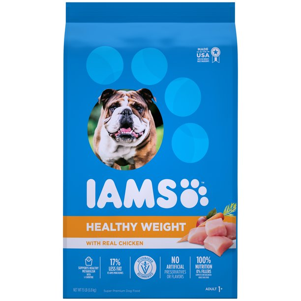 IAMS Adult Healthy Weight Dry Dog Food with Real Chicken, 15 lb. Bag