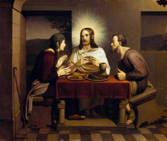 Christ at Emmaus by Johann Friedrich Overbeck (1789-1869) Germany Lubeck Saint Annes Museum Canvas Art Johann Friedrich... by Supplier Generic