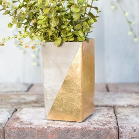 Concrete Vase Planter Pot Rectangular Candle Holder 65 In Gold