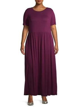 Terra & Sky Women's Plus Size Maxi Dress With Pockets