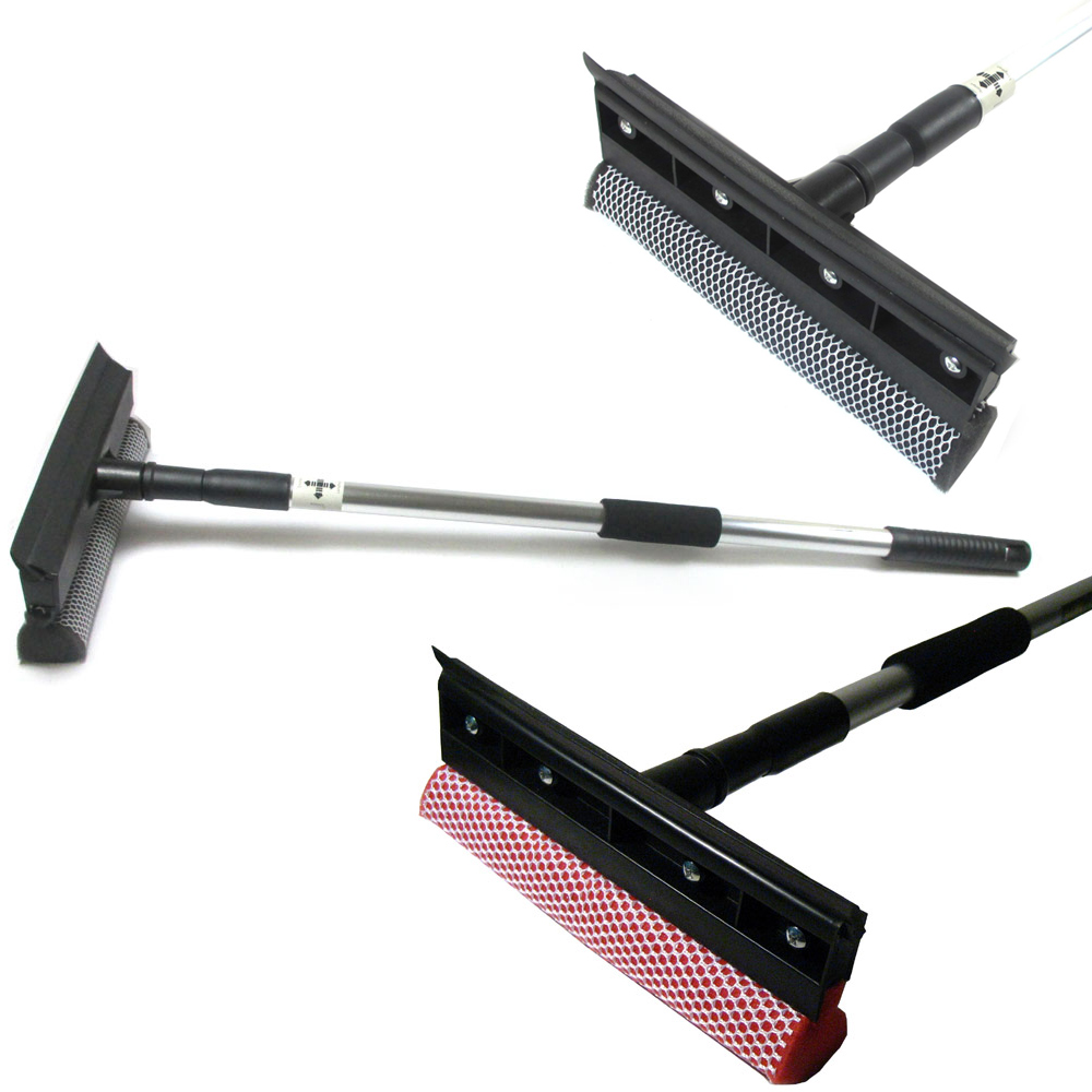 "Telescopic Window Squeegee 30"" Cleaner Squeegie Brush Shower Car Wiper Sponge"