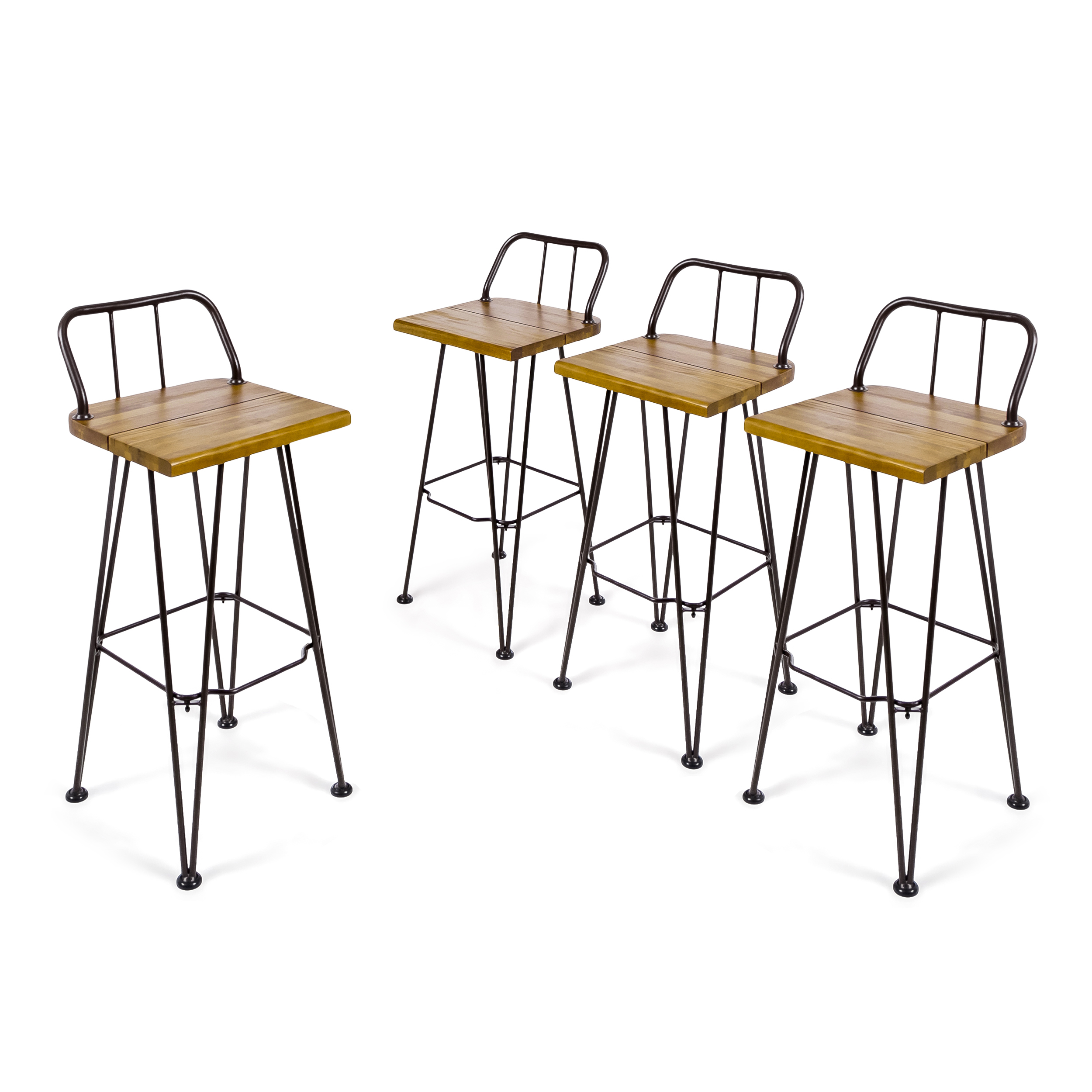 Leonardo Outdoor Industrial Acacia Wood Bar Stools with Iron Frame, Set of 4, Teak and Rustic Metal by GDF Studio