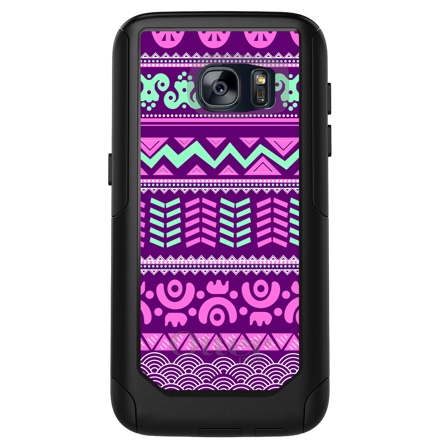 DistinctInk™ Custom Black OtterBox Commuter Series Case for Samsung Galaxy S7 - Pink Green Aztec Tribal