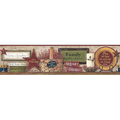 York Wallcoverings Friends and Family Shelf Pre-Pasted Border, Country Red/Moss Green/Sand Beige/Whitewash