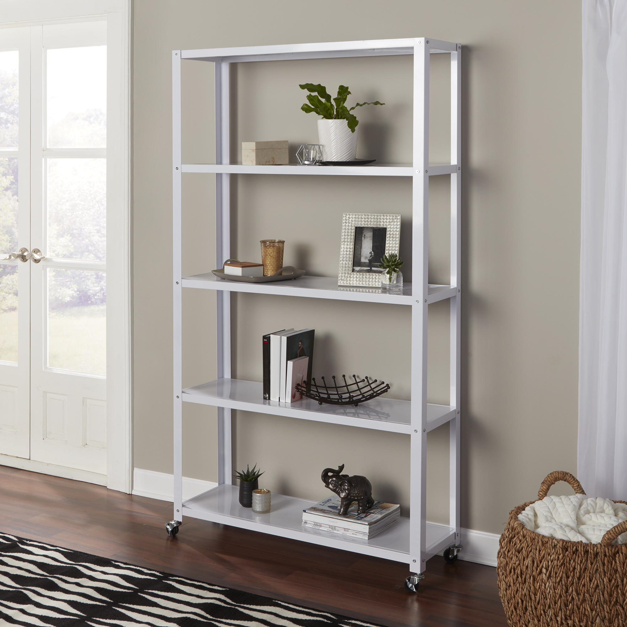 Mainstays 5-Tier Metal Bookcase, Multiple Colors