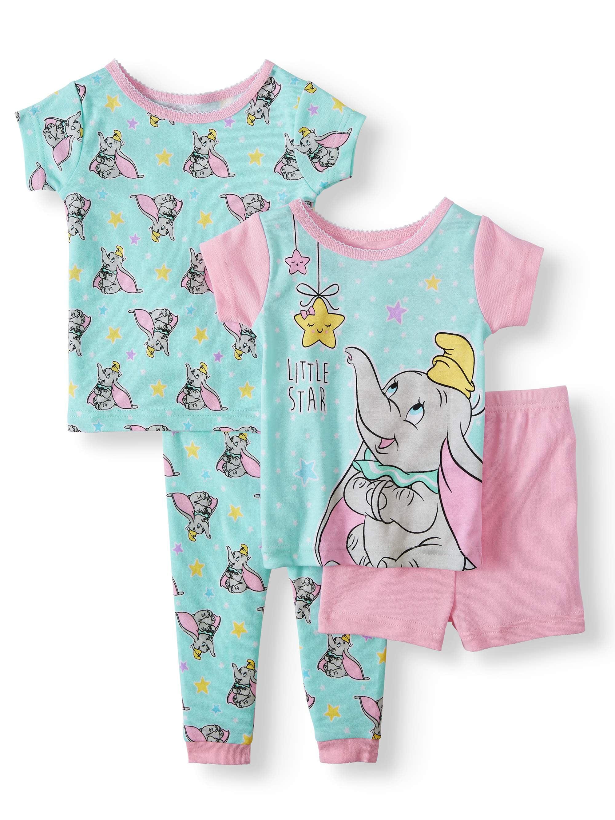 Cotton Tight Fit Pajamas, 4pc Set (Baby Girls)