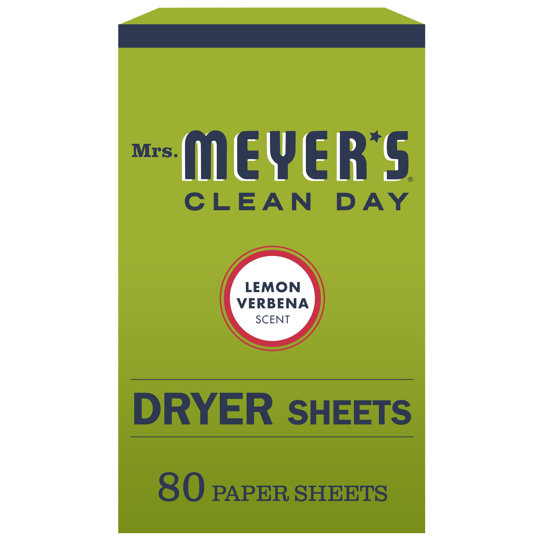 Mrs. Meyer's Clean Day Dryer Sheets, Lemon Verbena Scent, (Pack of 80)