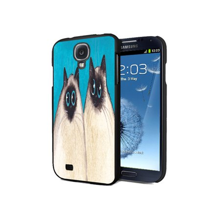 KuzmarK Samsung Galaxy S4 Black Cover Case - Silly Himalayan Kitties Abstract Cat Art by Denise