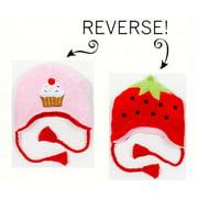 LCKDWLSC Strawbery/Cupcake Reversible Kid's Winter Hat Large