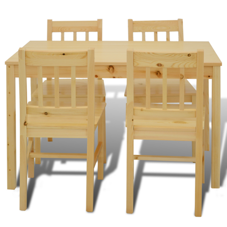 Ghp 5 Pcs Natural Pine Wood Kitchen Dining Smooth Surface Table Chair Furniture Set