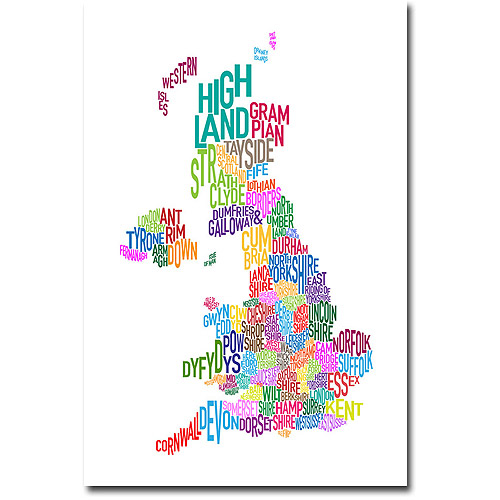 "Trademark Art ""UK Counties Text Map"" Canvas Wall Art by Michael Tompsett"