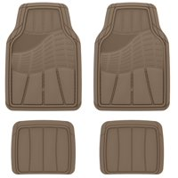 Auto Drive Heavy Duty Universal 4-Piece All Weather Rubber Car Floor Mat, Tan