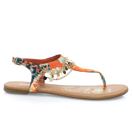 Ankle Strap Flat Thong (#Above by Soda, Orange Women's Metal Chain Flat Thong Sandal w Multi Colored Print & Sling Back Ankle Strap)