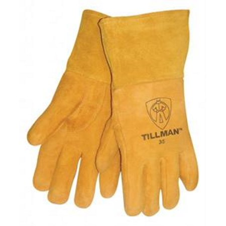 Tillman Large 12'' Gold Deerskin Cotton/Foam Lined Premium Grade MIG Welders Gloves With Straight Thumb, 4'' Gauntlet Cuff And Kevlar Lock Stitching - Leather Welders Gauntlets