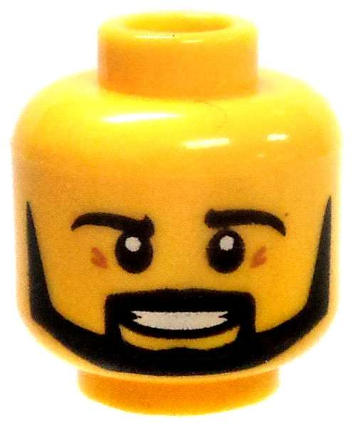 LEGO BLACK MINIFIGURE HEAD WITH YELLOW FACE MASK PIECE