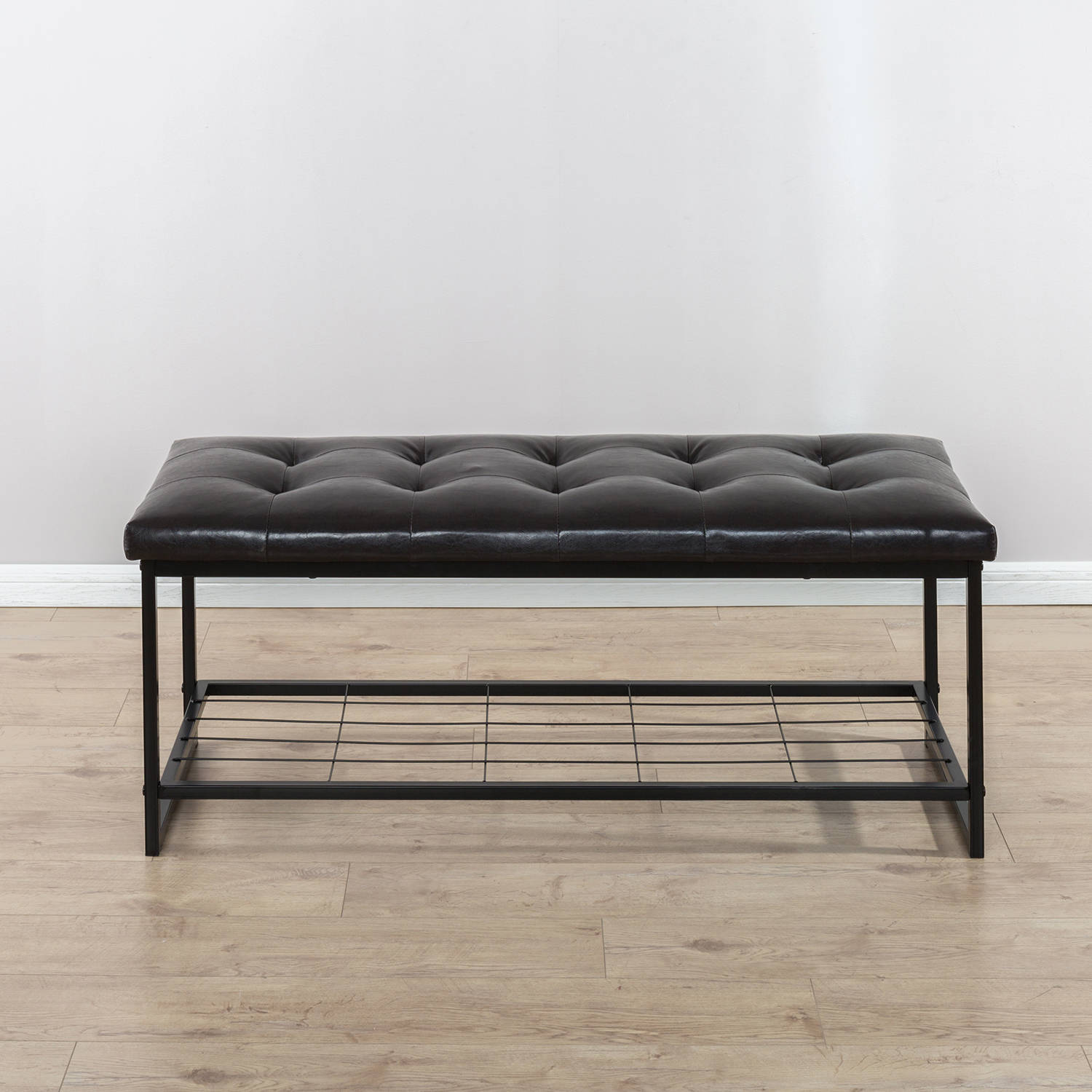 Zinus Faux Leather 48 Inch Tufted Bench with Storage Shelf